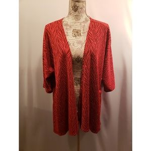 LulaRoe red and black Lindsay Kimono
